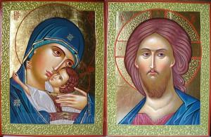 Пара икон. Христос и Богородица Умиление